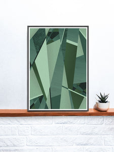 Forest Greens Geometric Art Printon a Shelf