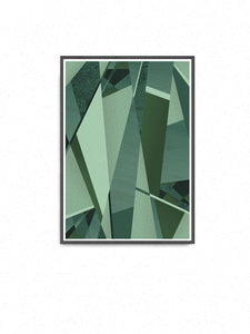 Forest GreensGeometric Art Print in a frame on a wall