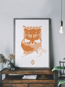 Fox Landscapes Fox Art Print in a frame on a shelf