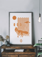 Load image into Gallery viewer, Fox with Lanterns Fox Art Print in a frame on a shelf