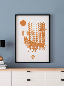 Fox with Lanterns Fox Art Print in a frame on a wall