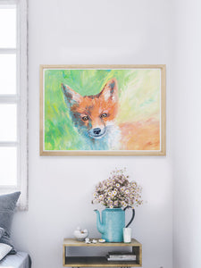 Foxy Lady Quirky Painting Print in a modern room