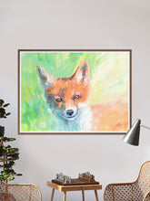 Load image into Gallery viewer, Foxy Lady Quirky Painting Print in a traditional room