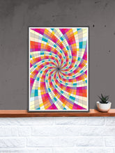 Load image into Gallery viewer, Fractal Light Spiral Pattern Print in a frame on a shelf