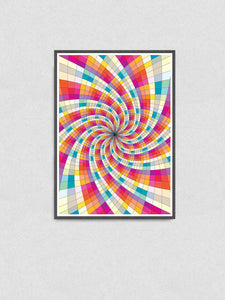 Fractal Light Spiral Pattern Print in a frame on a wall