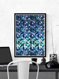 Fractal Overlay Abstract Pattern Print on a wall