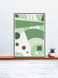 Garden Funk Geometric Pattern Print on a Shelf