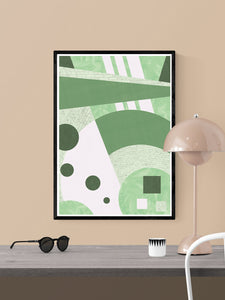 Garden Funk Geometric Pattern Print in a frame on a wall