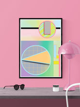 Load image into Gallery viewer, Geometric Zoetrope Retro Geometric Art in a frame on a wall