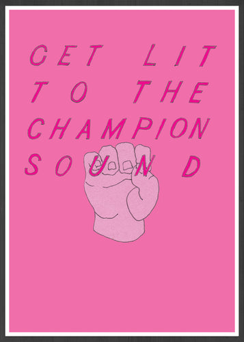 Get Lit Pink Quirky Art Contemporary Print In a Frame