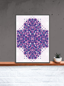 GlassSymmetry Art Print in a frame on a shelf