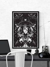 Load image into Gallery viewer, Glasscage Illustration Monochrome Print in a frame on a wall