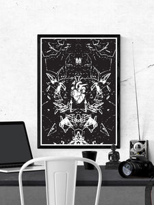 Glasscage Illustration Monochrome Print in a frame on a wall