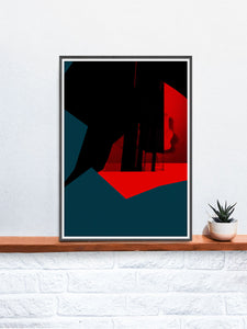 Glitch Cliff Glitch Art Print in a frame on a shelf