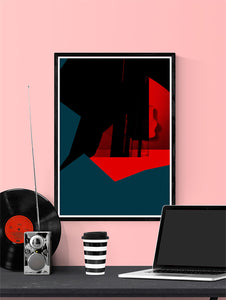 Glitch Cliff Glitch Art Print in a frame on a wall