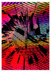 Glitch Clock Glitch Art Print no frame