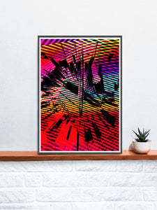 Glitch Clock Glitch Art Print in a frame on a shelf