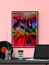 Load image into Gallery viewer, Glitch Clock Glitch Art Print in a frame on a wall