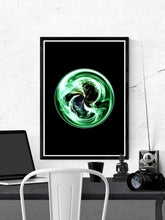 Load image into Gallery viewer, Globe Circle Abstract Print on a wall