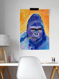 Gorilla Animal Portrait in a modern desk area
