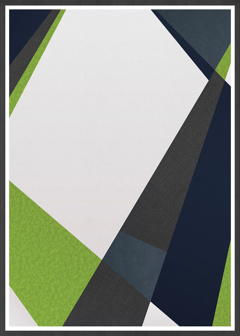 Green and Blue Geometric Printt in a frame