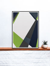 Load image into Gallery viewer, Green and Blue Geometric Print on a Shelf