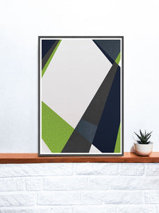 Green and Blue Geometric Print on a Shelf