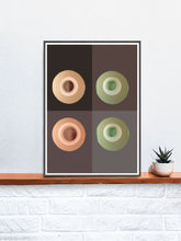 Load image into Gallery viewer, Green Minimal Art Print  in a frame on a shelf