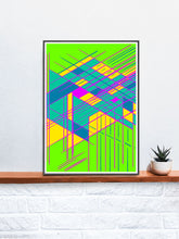 Load image into Gallery viewer, Guided Glitch Art Print in a frame on a shelf