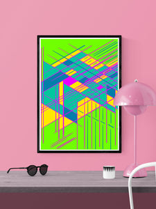 Guided Glitch Art Print in a frame on a wall