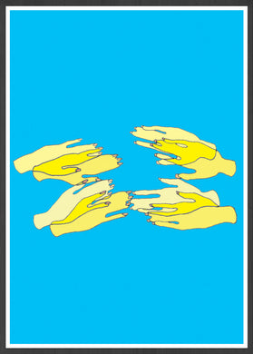 Hands Overlap Colour Contemporary Art Print ina  frame