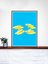 Load image into Gallery viewer, Hands Overlap Colour Contemporary Art Print on a shelf