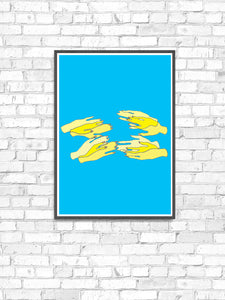 Hands Overlap Colour Contemporary Art Print on a wall