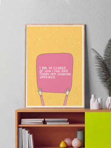 Happiness Positive Art Print in a frame on a shelf
