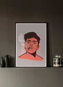 Happy Smoke Portrait Art Print in a dark room interior