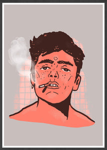 Happy Smoke Portrait Art Print in a frame
