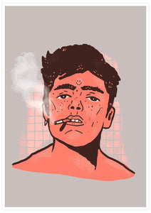 Happy Smoke Portrait Art Print