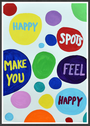 Happy Spots Quirky Print in a frame