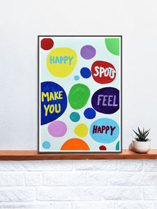 Happy Spots Quirky Print on a Shelf