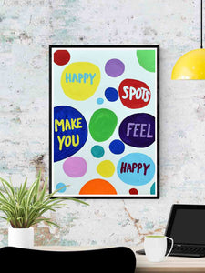 Happy Spots Quirky Print in a frame on a wall