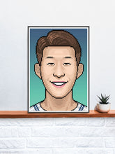 Load image into Gallery viewer, Heungmin Football Art Print in a frame on a shelf