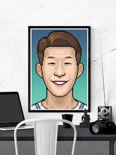 Load image into Gallery viewer, Heungmin Football Art Print in a frame on a wall