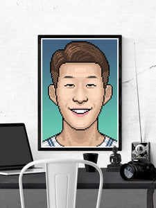 Heungmin Football Art Print in a frame on a wall