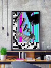Load image into Gallery viewer, Hot Diggity Glitch Art Print in a frame on a shelf