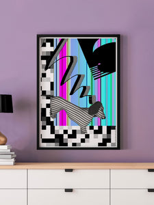 Hot Diggity Glitch Art Print in a frame on a wall