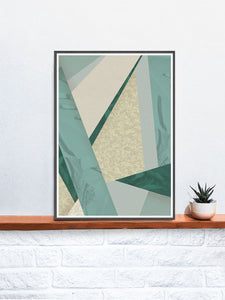 House Plants Botanical Pattern in a frame on a shelf