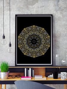 Hyperion Abstract Wall Print in a frame on a shelf