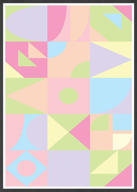 Ice Cream Shapes Abstract Geometric Art in frame