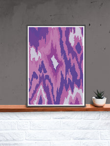 Ikat Illustration in a frame on a shelf