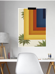 Retro Squares Geometric Wall Art in a modern room